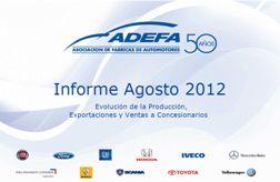 Informe ADEFA Agosto 2012/ Fuente: ADEFA.