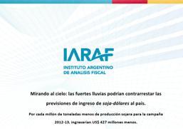 Informe sobre el impacto de las lluvias en sojadolares para Argentina / Fuente: IARAF.