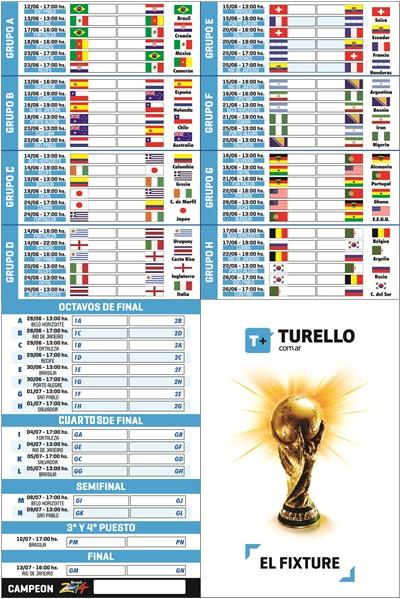 Fixture Mundial Brasil 2014 para descargar e imprimir tamaño bolsillo de Turello.com.ar