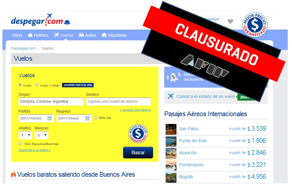 Despegar.com clasurada por AFIP / Crédito: elaboración propia en base a capturas de pantalla de la web.