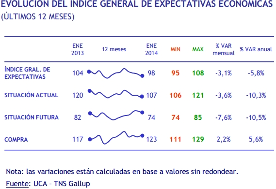 Expectativas Económicas a Febrero de 2014 / Crédito: Captura de pantalla del informe de UCA y TNS Gallup.