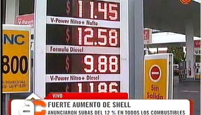 Los nuevos precios de Shell / Foto: Captura de pantalla del programa televisivo Arriba Córdoba.