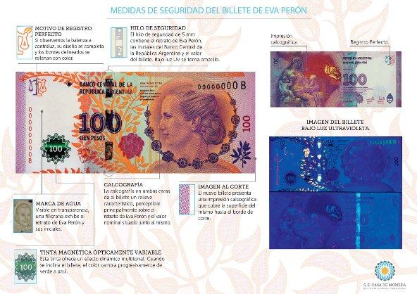 Medidas de seguridad del nuevo Billete de Eva Perón.