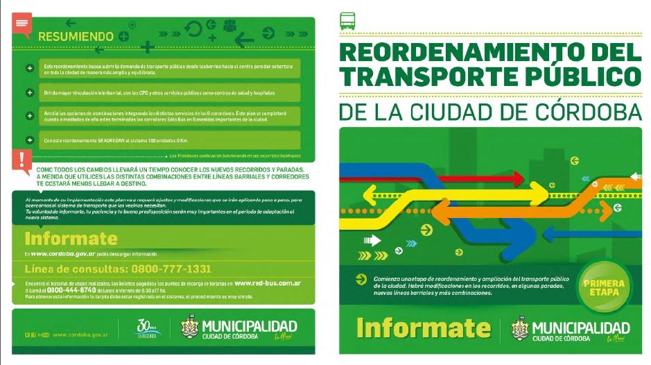 Clic en la imagen para descargar el Plan y Recorridos del Transporte Urbano de la Ciudad de Córdoba / Fuente: Municipalidad de Córdoba.