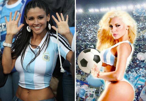 Izq: Dorismar la hincha más hot del Mundial 2010. Der: Vicky Xipolitakis las y su campaña anticipada para el Mundial 2014 | Fotos: Google Images y Twitter.