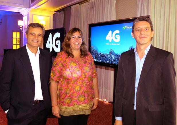 De izquierda a derecha: Pablo Armagni -Comunicación Externa-, Raquel García Haymes -Band Development Manager de Movistar- y Roberto Schiaffino -Gerente de la Región Centro-.