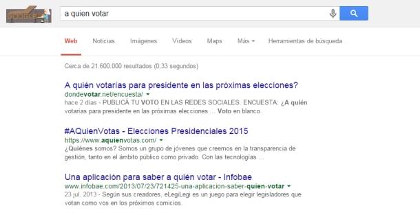 Resultados de la búsqueda a quién voto en Google