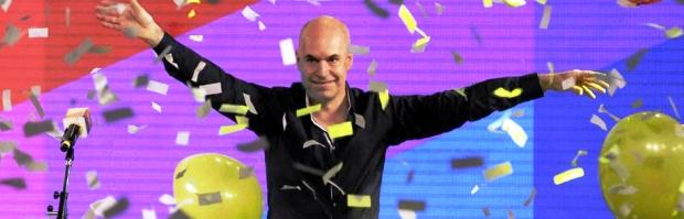 Rodríguez Larreta festeja con la escenografía del PRO, que esperaba una victoria por mayor margen | Foto: lanacion.com.ar