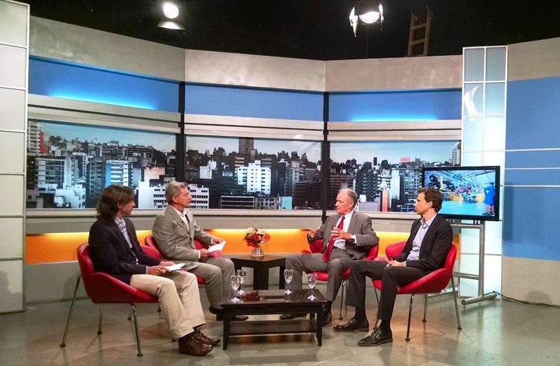 Los Turello entrevistaron a los Tagle. De izquierda a derecha Sebastián Turello, Juan Turello, Manuel Tagle, Gregorio Tagle.