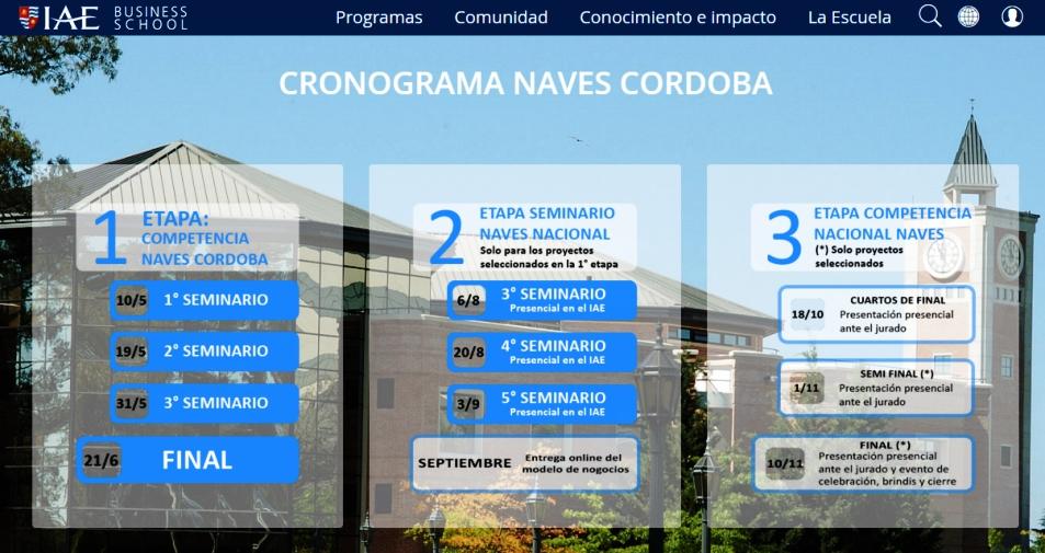 Cronograma de NAVES 2016 para Córdoba | Imagen: captura de pantalla del sitio de IAE.