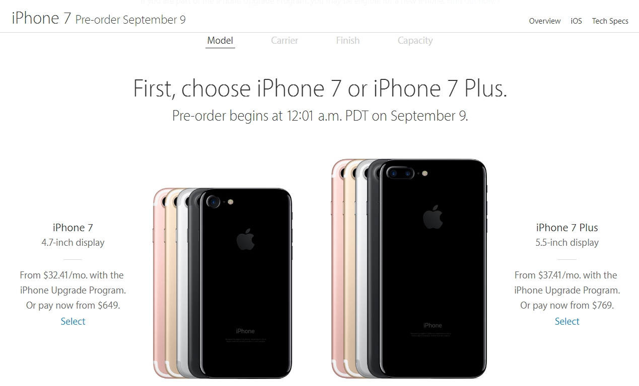 Modelos y precios del iPhone 7 para Estados Unidos | Imagen: captura de pantalla de Apple.com