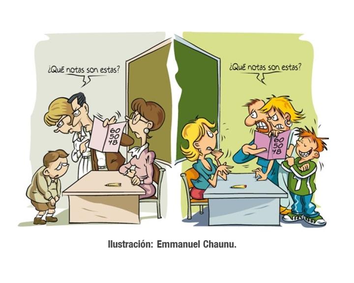La nuevas malas costumbres de los padres frente a los maestros | Imagen editada digitalmente | Ilustración original: Emmanuel Chaunu.