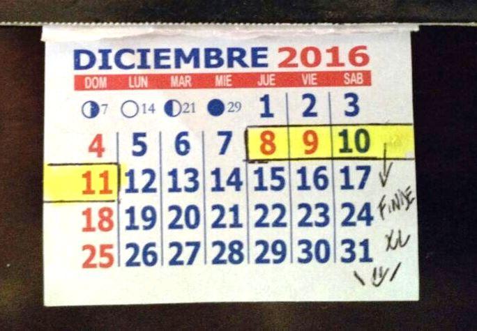 Resaltado en amarillo el último fin de semana largo de 2016 | Foto: Turello.com.ar