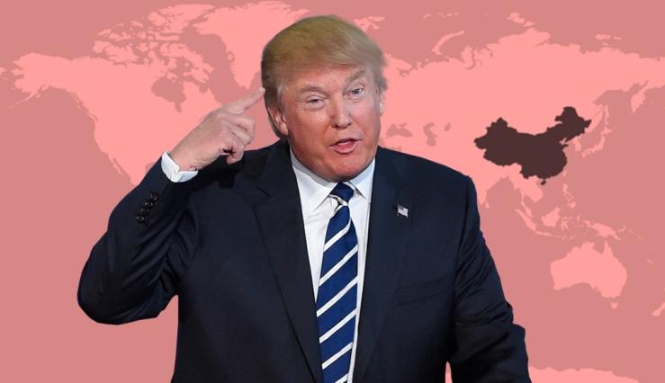 Para Trump las exportaciones de China a Estados Unidos son un problema | Ilustración: en base a imágenes editadas digitalmente de PngAll.com y FreeWorldMaps.net