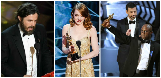 Izq. a Der.: Casey Affleck (Mejor Actor), Emma Stone (Mejor Actriz) y Moonlight (Mejor Película).