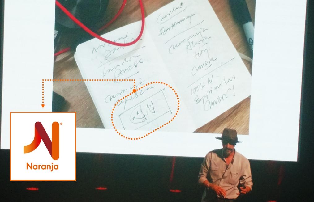 Del boceto de Roy García al diseño final del isologotipo de Naranja   Foto: Turello.com.ar