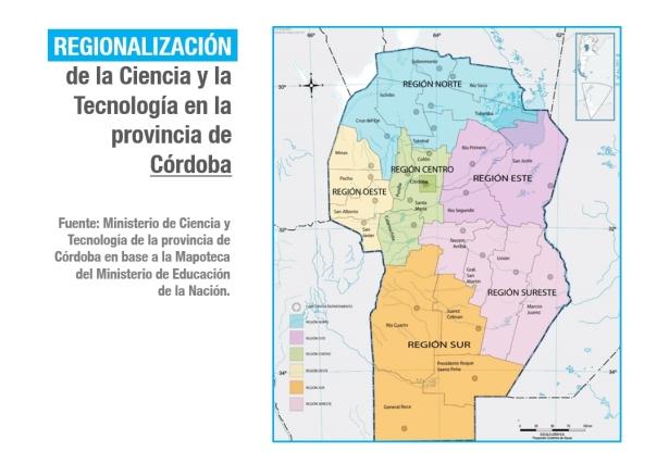 Las seis regiones | Imagen editada por Los Turello en base al Ministerio de Ciencia y Tecnología de Córdoba.