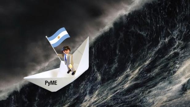 El manager (empresario) capitaneando el barco (Pyme) en el mar de la economía Argentina | Ilustración: elaboración propia en base a imágenes de TodoCollection.net, Pixabay.com (SyedR) y Fira-scrap.ru