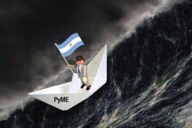 El manager (empresario) capitaneando el barco (Pyme) en el mar de la economía Argentina | Ilustración en base a imágenes de TodoCollection.net, Pixabay.com (SyedR) y Fira-scrap.ru