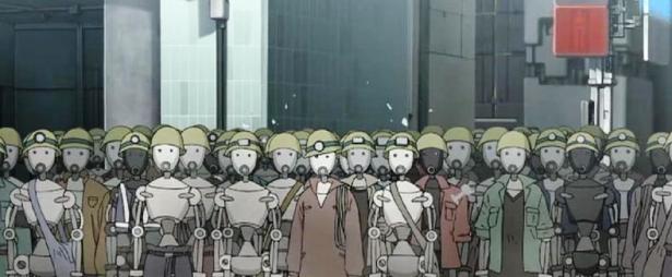 En una visión futurista del empleo, los robots son los obreros de las fábricas en Animatrix, precuela de Matrix.