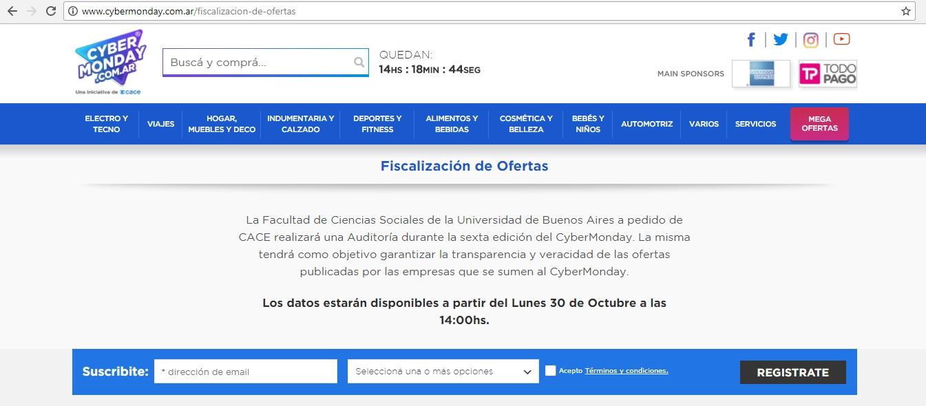Captura de pantalla de la página dedicada a la fiscalización de ofertas del Cybermonday.
