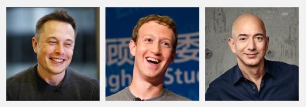 De izquierda a derecha: Elon Musk, Mark Zuckerberg y Jeff Bezos | Fotos publicadas en Twitter y Facebook.