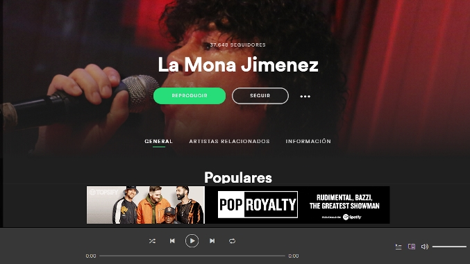 Perfil de La Mona Jiménez en Spotify | Imagen: captura de pantalla.