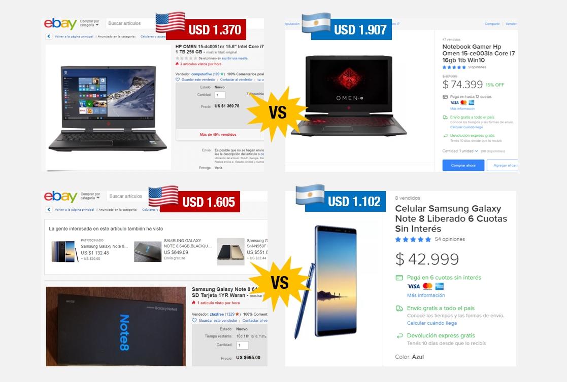 3/10/18 | Comparativo de precios en Estados Unidos y en Argentina | Imágenes: capturas de eBay y MercadoLibre.