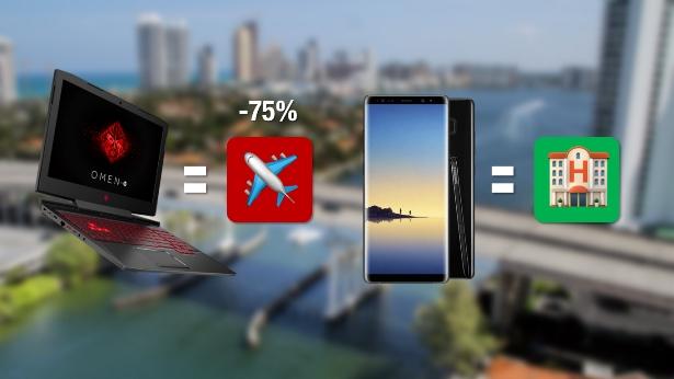 Compras de portátil y celular en Miami. | Ilustración en base a imágenes de Pixabay [yanivmatza], HP, Emojipedia, KissPNG.