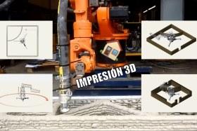 Impresión 3D de casas. Prueba de Haus Drucker con un brazo robótico depositando cemento.