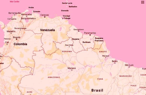 La frontera de Venezuela | Imagen: editada digitalmente de la captura de Google Maps.