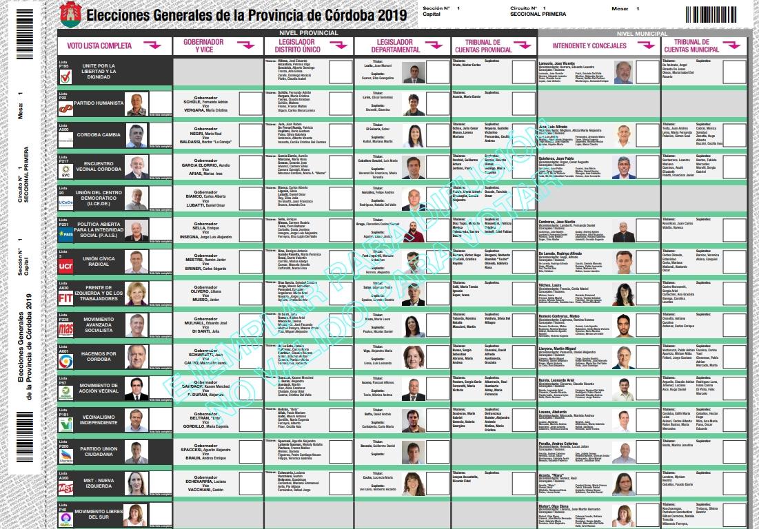 Boleta Única de Sufragio (BUS) para las elecciones en Córdoba Capital | Imagen: Justicia Córdoba.