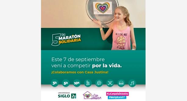Maratón solidaria por Casa Justina en el Campus de la Universidad Siglo 21 (Córdoba) | Imagen: US 21.