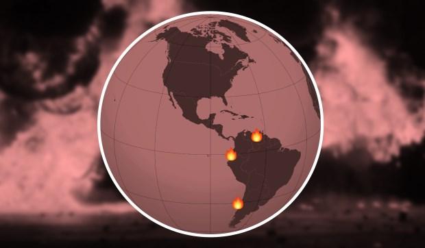 Protestas en la región | Ilustración: en base a imágenes de AFP, Wikipedia y Emojipedia.org