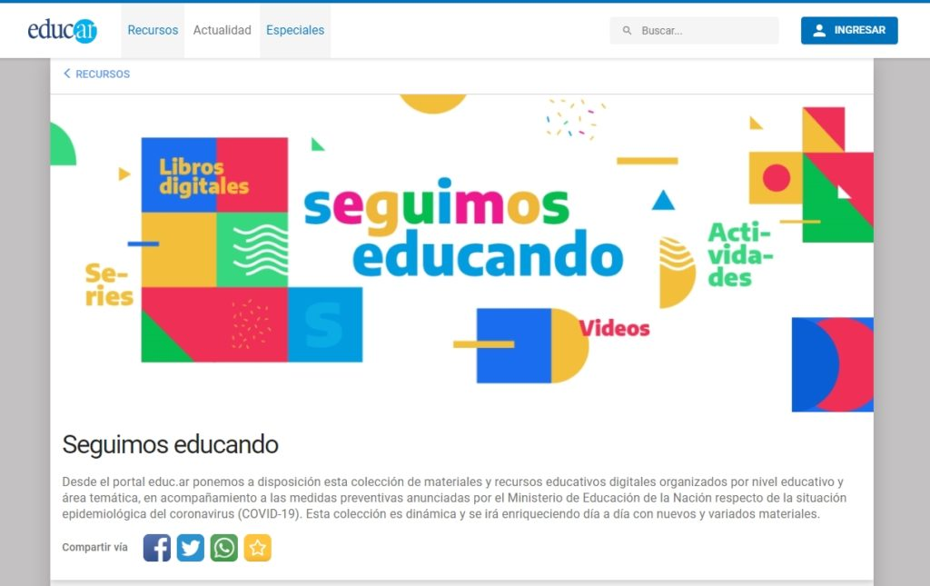 Seguimos Educando, un portal para fomentar la escuela en casa | Imagen: captura de seguimosedcuando.gob.ar