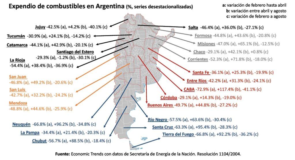 Mapa de expendio de combustibles en Argentina | Crédito: Economic Trends para CECHA.