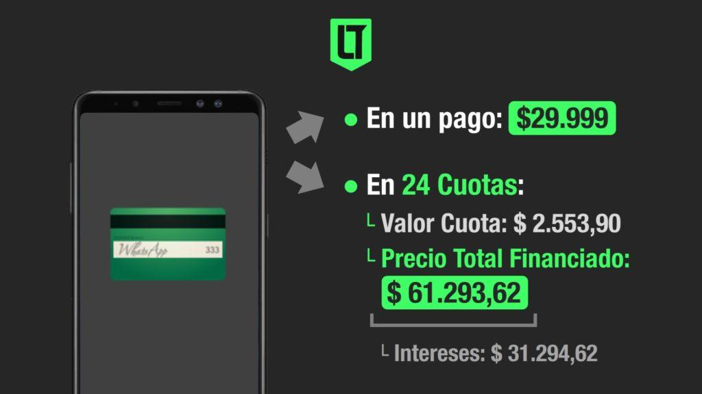 Tarjetas | Ejemplo de pago al contado o en 24 cuotas de un celular.