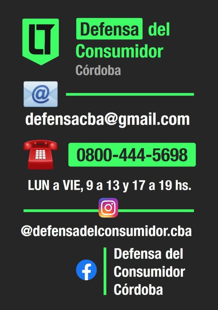 Estafas: datos de contacto de Defensa del Consumidor Córdoba | Infografía: Los Turello de bolsillo.