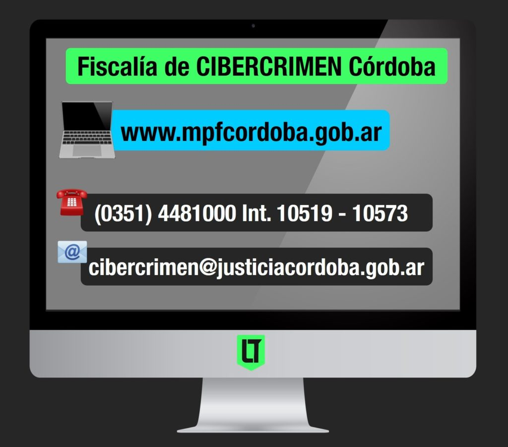 Ciberdelitos: datos de contacto de la fiscalía especializada en Cibercrimen del Ministerio Público Fiscal de Córdoba | Infografía: Los Turello de bolsillo.