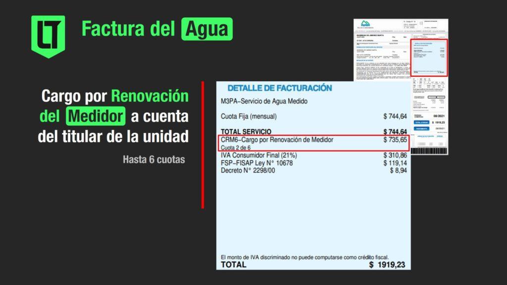 Superado los 30 años, el costo por la renovación del medidor de Aguas Cordobesas está a cargo del titular de la unidad de facturación | Infografía: Los Turello de bolsillo.