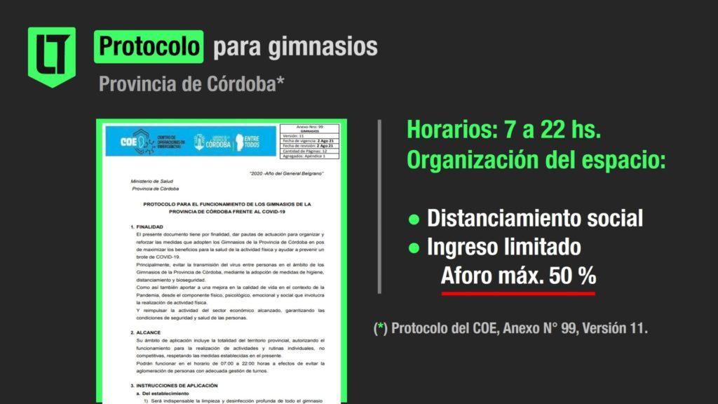 Protocolo para gimnasios en Córdoba   Infografía: Los Turello de bolsillo.