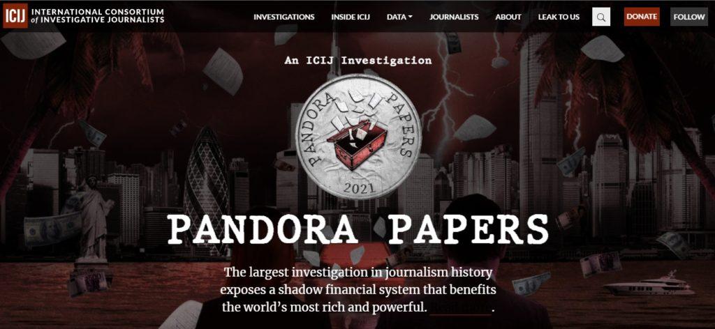 Captura de pantalla del sitio de los Pandora Papers del ICIJ.
